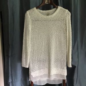 Anne Taylor Loft white shimmery sweater